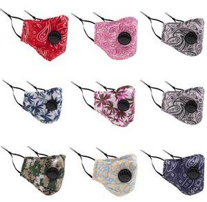 quality women men Dust-proof Cotton Face Mask with Breather Valve Filter Pocket Floral Camo Print Unisex Mouth Masks Anti Dust Haze Masks