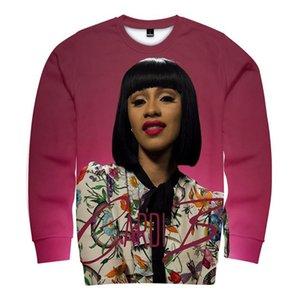 Ronda de cuello de la moda sudaderas con capucha de manga larga cantante rapera Ropa camisetas de las mujeres Cardi B Imprimir Pullover