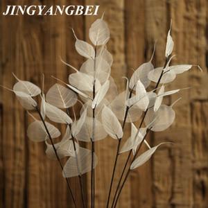 55 cm Branco Natural veia da folha Bodhi Ramo seco Flor da flor do casamento Preservado a seco decoração de casa