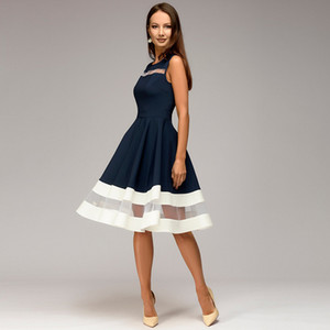 Women's stitching contrast color sexy perspective gauze dress Party evening dress