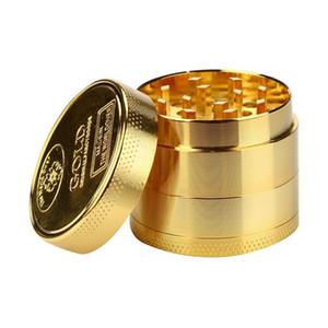 oro barato Picadoras ginder de metal kit de 40 mm 4 capa molinillo de tabaco para fumar de aleación de dientes molinillos de colores encajan color al azar hierba seca