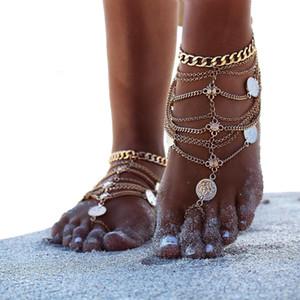 Горячая распродажа-сандалии Anklets пляжные тапочки для женщин Сандалии Ummer Женская обувь Металлическая обувь для монет Многослойная цепочка для ног с бахромой