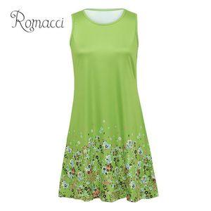 Romacci Sexy Women Sleeveless Dress Flora Print O Neck Plus Size Dresses For Women 4xl 5xl 6xl Pocket Loose Casual Mini Dress MX19070401