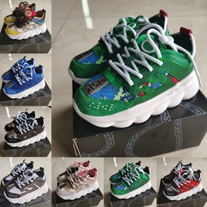 2020 Chain Reaction Casual Shoes White Multi Color Rubber Suede Flat designer sneakers Kids Fashion Leather kids shoes Trainers