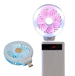 LED Fan Mini USB Portable Power Light Fill Ventilateur 2 couleurs Night Light POCHETTE Fan Party Favor OOA8014