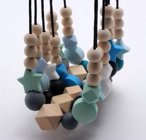 2020 monili della collana di dentizione bambino del silicone silicone perline di legno collana per neonato mamma libero