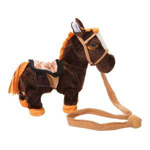 High Quality Electric Walking Horse Toys Battery Plush Backpacks Stuffed Animals & Plush Powered Stuffed Animal Kids Toy Christmas Gift