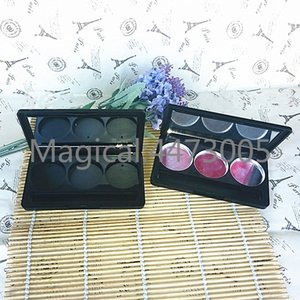 50pcs lot 3 Grids Empty Plastic Eyeshadow Case Round Jar Aluminum Palette Powder Cosmetics Compact Blush Container Makeup Tools