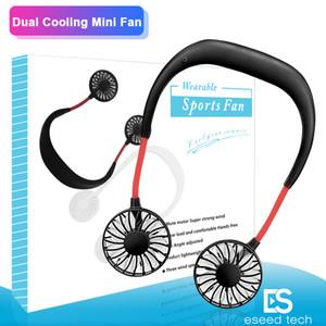 2020 tragbare USB aufladbare Neckband Faule Umhängen Doppelkühlsysteme Mini-Ventilator Sport 360-Grad-Lüfterdreh hängenden Hals