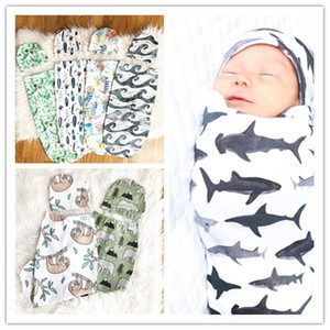 2020 Cute Baby a pelo Borse Cappelli neonato Cotton Cartoon Dinosaur stampa sonno Sacks bambino swaddles Cappelli fasce coperta calda E22602