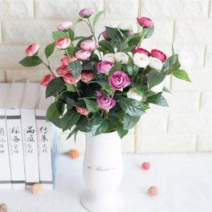 "Fake Single Stem Snowflake Tea Bud (5 heads piece ) 11.81"" Length Simulation Camellia for Wedding Home Decorative Artificial Flowers"