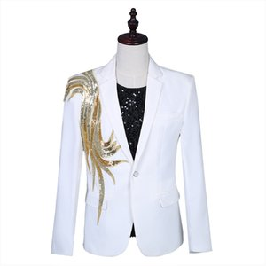 Golden Sequin Male White Slim Fit Single Button Wedding Suits Man Singer Stage Performance Costumes Party Fashion Men's Blazer