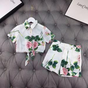 더운 여름 소녀 세트 아기 소녀 짧은 소매 티셔츠 및 바지 꽃 한 벌 아이 의류