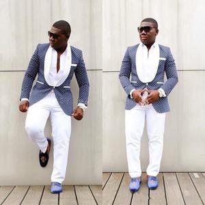 NewClassic Tasarım Tek Düğme Royal Blue Polka Dot Damat smokin Groomsmen Şal Yaka Best Man Suit Erkek Düğün Suit (Ceket + Pantolon + Kravat) 42