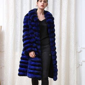 Arlene 2020 Sain fourrure bleue violet bleu chinchilla manteau de vison chinchilla