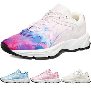Mens Técnica caliente Flores zapatilla de deporte para mujer de moda B24 Tie-dye impreso malla oblicua azul transparente Ejecutando el CD de rosa Zapatos