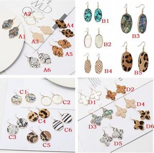 Leopard Print Abalone Shell Turquoise Geometric Hexagon Earrings Charms Dangle Earrings Jewelry For Women