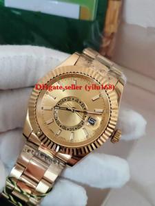 3-Color أعلى جودة الرجال ووتش قابلة للطي 326938 Sky-Dwe 42mm 18k الذهب التلقائي Sky Watch تاريخ المنطقة الزمنية المزدوجة ساكن التقويم السنوي