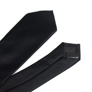 New Classic Black Ties for Men Silk Mens Neckties for Wedding Party Business Adult Neck Tie 3 Sizes Casual Solid Tie