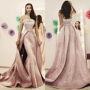 Gorgeous Beads 2020 Pink Mermaid Prom Dresses With Overskirts Beaded Formal Gowns Strapless Evening Dress Ballkleider