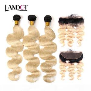 9A Ombre 1B 613 Bleach Blonde 13x4 Lace Frontal Closure With 3 Bundles Brazilian Peruvian Malaysian Indian Body Wave Virgin Human Hair Weave