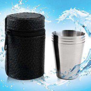 Taza de la taza que acampa del acero inoxidable que acampa al aire libre Senderismo plegable taza de la cerveza del té del café portátil con el bolso 70ML del almacenamiento