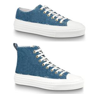 Frauen Dame Mädchen Gummi-Laufsohle gedruckt Denim Jeans Bleu Blau flach loafer Stellar Sneaker hoch oben Reißverschluss Stiefel Sportschuhe