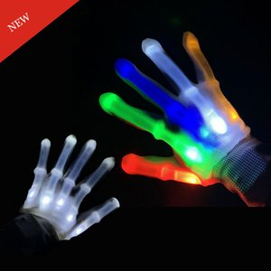 NUOVO Cotone Nylon LED lampeggiante Guanti Light Up Led Finger Gloves leggeri guanti Skeleton LED Design Party favore guanto bagliore nel buio