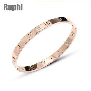 titanio de acero fino pulido crysals Roma amantes Minimalismo digitales brazalete pulsera adorno de joyería de San Valentín
