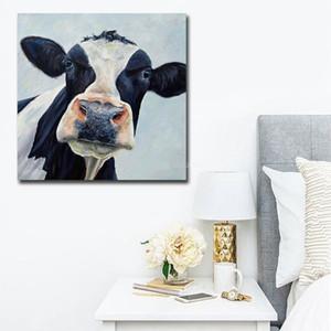 -vA. Tuval Wall Art Home Deco A81 Açık Modern Sevimli İnek Handpainted HD Baskı Özet Hayvan Sanat Yağlıboya Resim