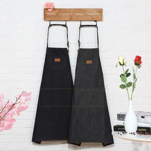 Calças de brim cozinha aventais simples uniforme unisex chef garçom cafe shop churrasco denim aventais de cozinha acessórios de cozinha