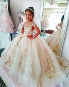 Sheer Neckline Wedding Flower Girls' Dresses 2020 Capped Sleeves Lace Applique Puffy Tulle Pageant Party Gowns with Bow