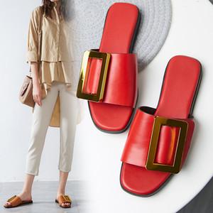 Lapolaka Auf Verkauf Große Größe 43 Luxus Neuheiten Echtes Leder Flach Mit Flip Flops Hausschuhe Schuhe Frau Mode frauen Sandalen