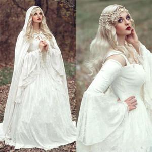 Printemps gothique dentelle Une ligne Robes de mariée avec Cloak Plus Size Vintage de Bell manches longues Robes de mariée Princesse celtique médiévale 70