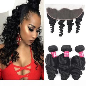 A Loose Wave Brazilian Hair 3 Bundles With 13x4 Ear To Ear Lace Frontal Closure Deep Straight Body Loose Wave Kinky Curly With Closure