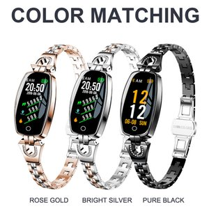 wholesale H8 Fitness Bracelet Sport Smart Watch 2019 Waterproof Heart Rate Monitoring Bluetooth For iOS Android Smartwatch Women Gift