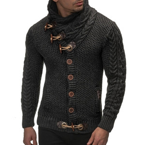 Laamei 2018 Sweater Cardigan Men Marca Casual Slim Fit Male Camisolas Homens Horns Buckle Grosso Hedging Turtleneck homens de camisola NewMX190926