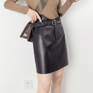 Lautaro Short black leather skirt women belt White faux leather skirts summer High waist skirt Soft plus size clothing for women