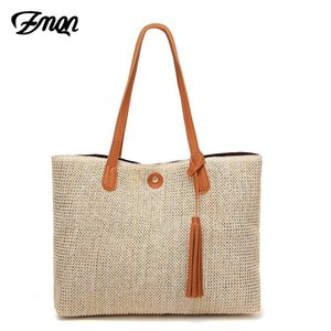 ZMQN Handbags Bags Women Casual Tote Bag Handbags Women Famous Brands Large Capacity Woman Knitting Straw Bag Tassel Bolsas A815
