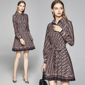 Damen High-End-Kleid-lange Hülse OL-Hemd-Kleid-Sommer-Herbst gedrucktes Kleid Fashion Boutique-Mädchen-Kleider