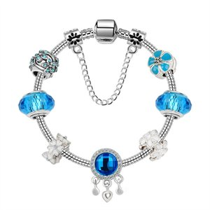 Murano Glass Charm Bracelets Bead Christmas Blue beads CZ Crystal Charms Dangle For Women Original DIY Jewelry Style Fit Pandora