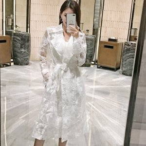 Autumn Summer White Lace Embroidered Trench Coat For Women Elegant Long Trench Coat Ccasaco Feminino Windbreaker AQ916