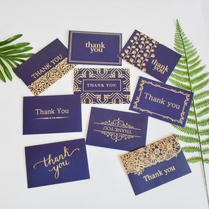 Thank You Card, Navy Blue&Gold-Blank Note Cards with Envelopes - Perfect for Business, Wedding, Gift Cards, Graduation, Baby Shower, Funeral