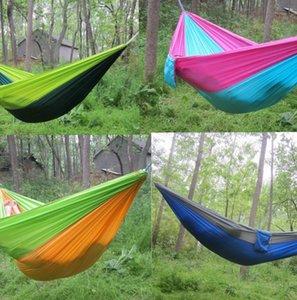 Doppel Leichtes Nylon Hammock Adult Camping im Freien Spielraum Überleben Gartenschaukel Jagd Schlafenbett Tragbare Hammock KKA7904