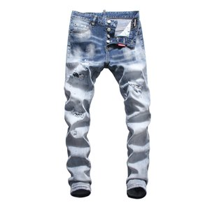 2019 Novo Mens Fold Azul Jeans Skinny Designer de Moda Zipper Painted Afligido Slim Fit Moto Motociclista Hip Hop Denim Calças Tamanho 28-38