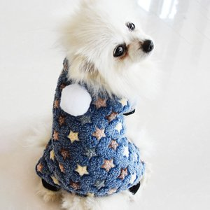 NewCute Star Paw Print Warm Winter Pet Coat Thicken Dog Cat Clothes Overalls Coral Velvet for Small Medium Dogs Cats Chihuahua