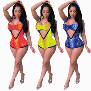 Com Capuz Maiô Impresso Mulheres Desgaste Venda Quente One-piece Swimsuit Moda Sexy Jumpsuits