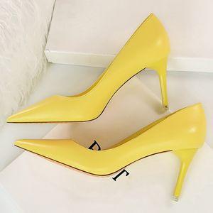 2020 Mujeres Dulce 7,5 cm de tacón alto del partido de cuero suave Bombas Scarpins Mujer Amarillo Rosa Azul se inclinan los zapatos de la boda del estilete del tamaño grande
