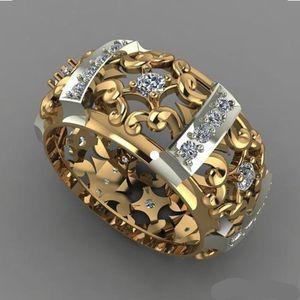 Hot Design Brand Hollow Flower Pattern Finger Rings for Men Women Luxury Silver Gold Two Tone Filled CZ Wedding Rings