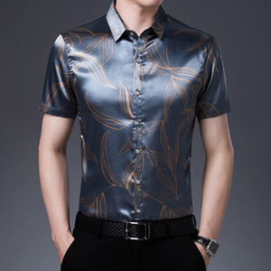 Quality Silk Shirts For Mens Clothing 2020 Satin Printed Mens Short Sleeve Shirts Silver Business Korean Fashionable